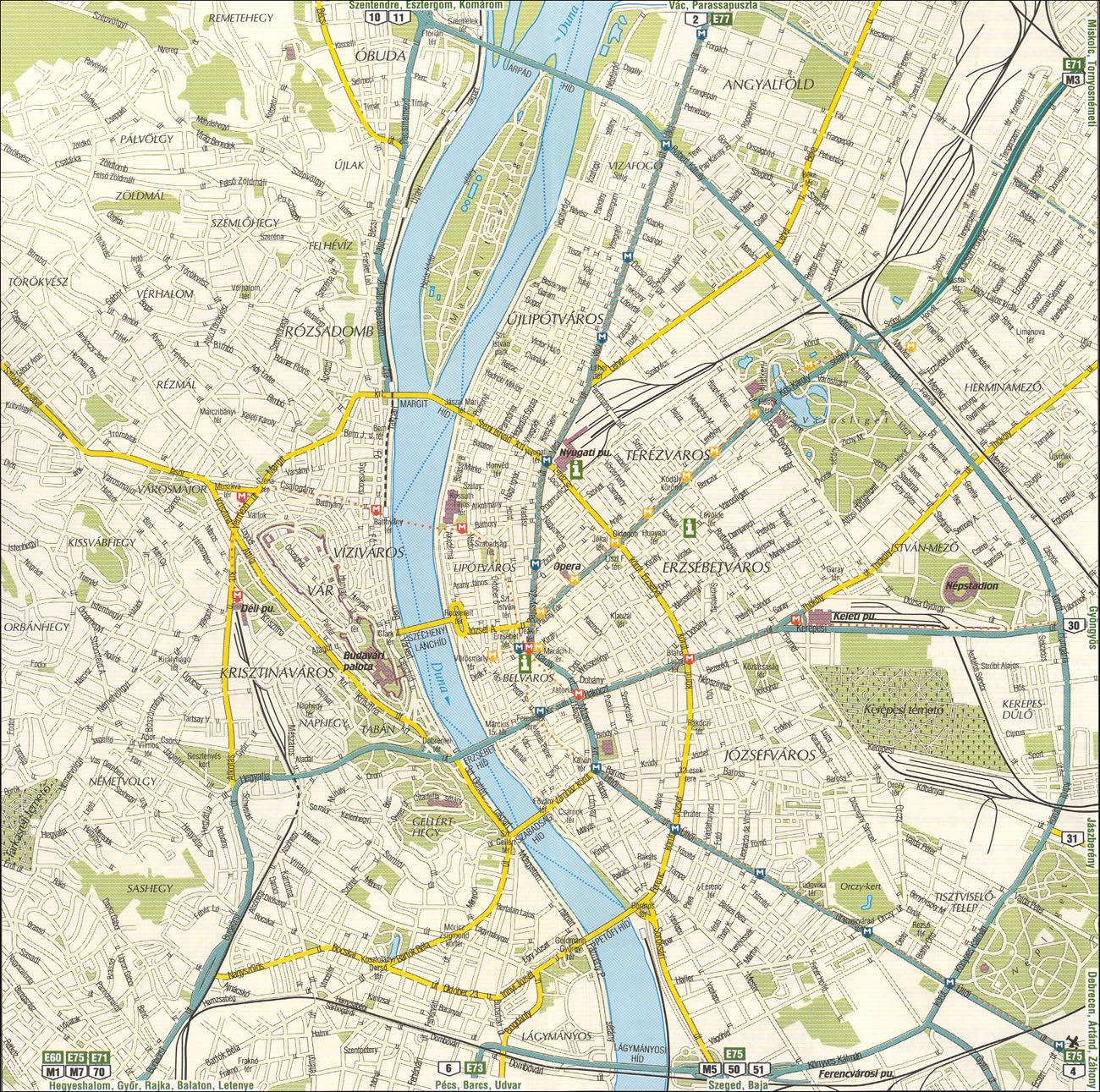 Подробная карта города будапешт