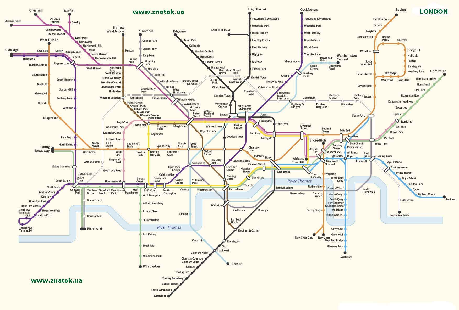Альбом.  Схема линий метро Лондона.